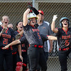 JAY YOUNG | THE GOSHEN NEWS<br /> Westview's Megan Schrock (5) throws her hands in the air as her teammates storm out of the dugout after scoring the game-winning run against Prairie Heights in the seventh inning of their sectional game Monday evening in Topeka.