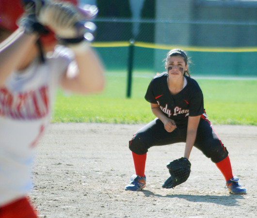 Lisa Kirchoff/Rushville Republican<br /> Senior Riley Lanham gets ready at third base during action against Connersville. The Lady Lions avenged an early season loss to the Lady Spartans by winning 2-1.