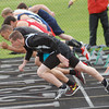 Aaron Kirchoff/Rushville Republican<br /> Individuals in the 100-meter dash trials fire of the starting line with Rushville's Sam Beavers in Lane 1.