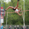 Kate Thurston/Rushville Republican<br /> Rushville's Katie Egielske clears the pole vault bar during action Tuesday in the track sectional at Connersville.