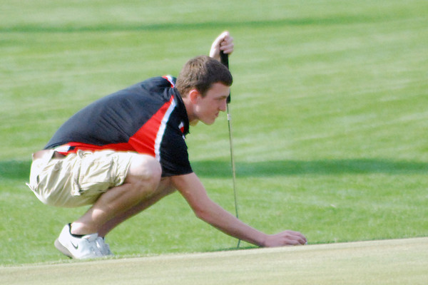 Aaron Kirchoff / Rushville Republican<br /> Rushville's Nate Hoeing was meet medalist against Morristown and Waldron with a 37 on the front nine at Antler Pointe.