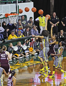 Brittney Griner's blocked shot and the track the ball was on as it went out of bounds.