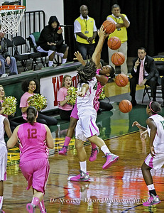 You can see by the extra balls just how effective Brittney Griner's block was. This is Baylor playing OU.