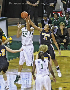 Brittney Griner continues to be the focus of much of the attention of Baylor's opponents. Here Mizzou's Sidney Crafton steals a ball from behind Brittney on Baylor's end of the floor.