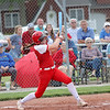 St. Anthony's Maddie Kibler follows through after hitting the ball in the Class 1A Sectional Semifinals against Hutsonville on Tuesday, July 8, 2021, at St. Anthony High School, in Effingham, Illinois. (Alex Wallner/Effingham Daily News)