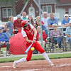 St. Anthony's Maddie Kibler hits the ball in the Class 1A Sectional Semifinals against Hutsonville on Tuesday, July 8, 2021, at St. Anthony High School, in Effingham, Illinois. (Alex Wallner/Effingham Daily News)