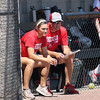 St. Anthony head coach Makayla Walsh (left) and father, and assistant coach, Tim (right) watch during a softball game against Marissa (Coulterville) in the Class 1A Super-Sectionals, Monday, June 14, 2021, at Johnston City High School, in Johnston City, Illinois. (Alex Wallner/Effingham Daily News)