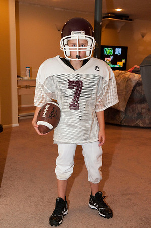 Dusty in his St. Athanasious Football practice uniform