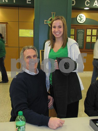 Mark Crimmins with his daughter Claire at the St. Eds girls BB game.