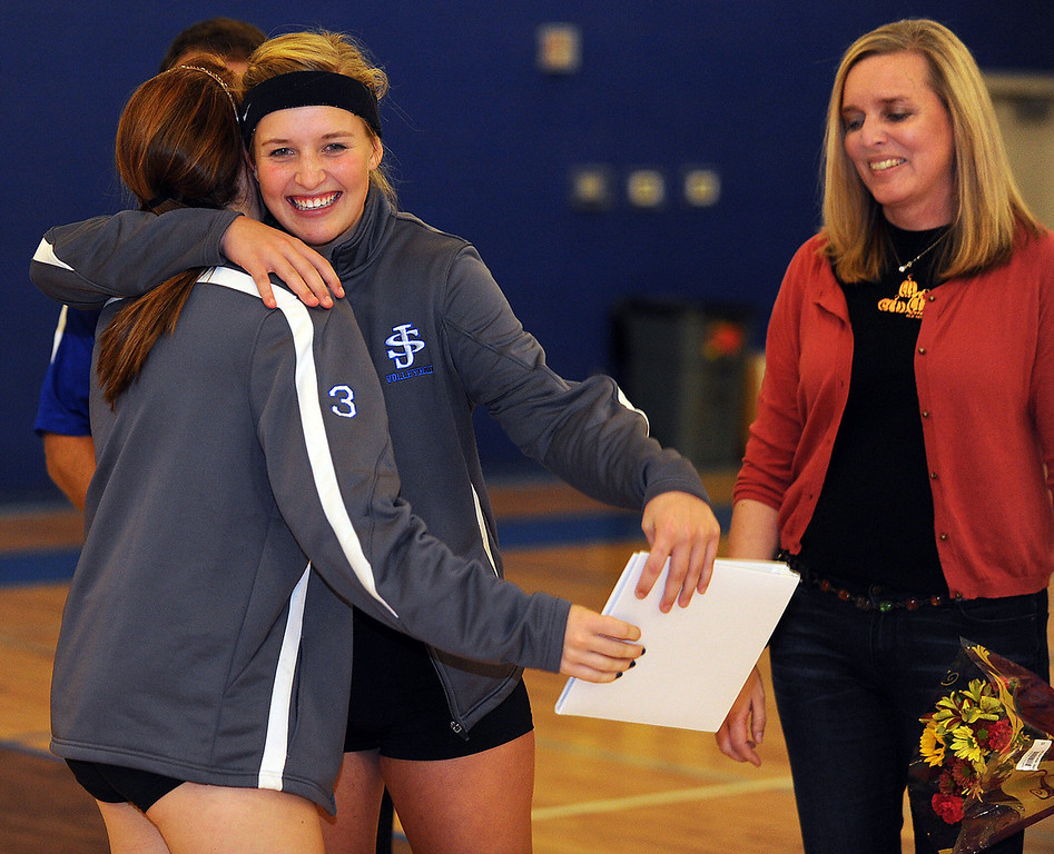 St. Joseph's celebrates Volleyball Senior Night.<br /> GWINN DAVIS PHOTOS<br /> gwinndavisphotos.com (website)<br /> (864) 915-0411 (cell)<br /> gwinndavis@gmail.com  (e-mail) <br /> Gwinn Davis (FaceBook)