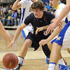 Pat Christman<br /> St. Peter's Brendan Reese reaches for a loose ball during the second half of their Section 2AA championship game Friday at Bresnan Arena.