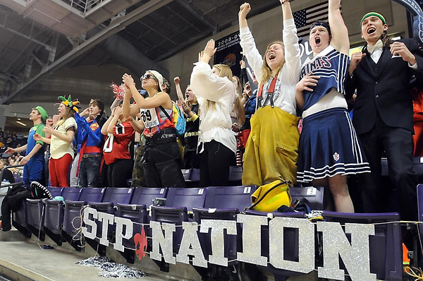 Pat Christman<br /> St. Peter fans cheer during the Section 2AA final Friday.