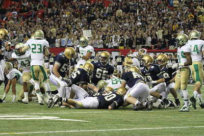 The St. Pius offense is stopped by Buford's defense on fourth down.