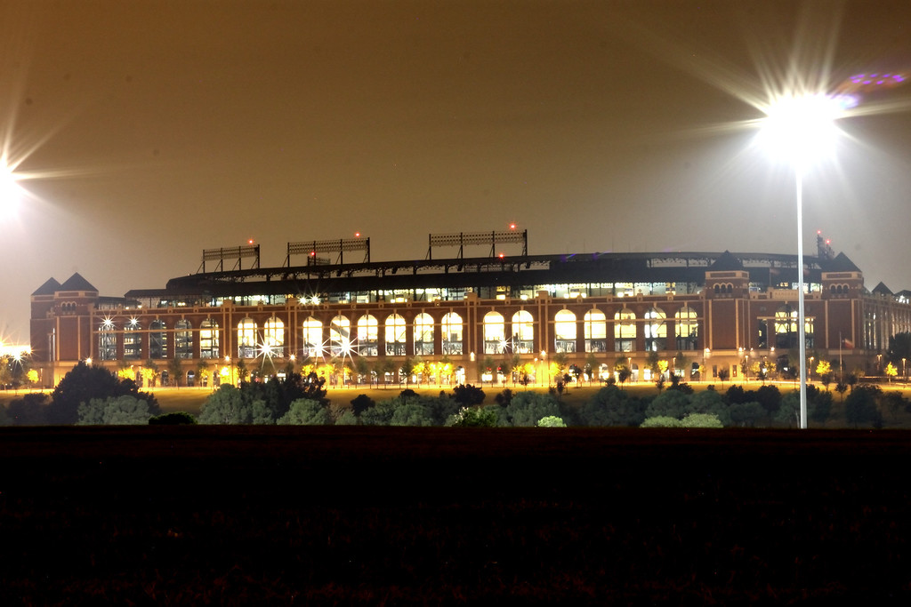 Rangers Stadium, after choking at the end of the 2012 season.  The should have been playing the night this picture was taken (10-10-2012).