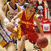 Kirtland Central's girls basketball team beats Española, 52-47, during the semifinals of state basketball play at the Santa Ana Star Center in Albuquerque, N.M. on Mar. 11, 2010. <br /> (center, #5, of española, Melanie Vigil)<br /> Natalie Guillén/The New Mexican