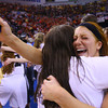 3-8-14  ---  State Girls Championship. Western girls cheer after winning the state Championship in Terre Haute. Caitlyn O'Neal hugging one of the team managers after winning the championship.-- <br /> KT photo | Tim Bath