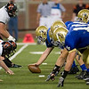 Record-Eagle/Jan-Michael Stump<br /> Traverse City St. Francis' offense lines up against Ubly in the first half of Saturday's state final game at Ford Field in Detroit.