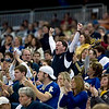 Record-Eagle/Jan-Michael Stump<br /> Traverse City St. Francis fans cheer during the Gladiator's win over Ubly in Saturday's state final game at Ford Field in Detroit.