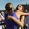 Kelsey Lakowske, right,  Boulder, celebrates with teammate Ellen Jackson after finishing in first place in the girls 5A race during the state cross country meet at Fossil Ridge High School in Ft. Collins on Saturday.<br /> <br /> November 7, 2009<br /> Staff photo/David R. Jennings
