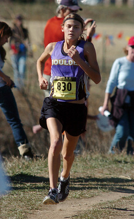 Kelsey Lakowske, Boulder, runs on the course during the state 5a girls cross country race at Fossil Ridge High School in Ft. Collins on Saturday.<br /> <br /> November 7, 2009<br /> Staff photo/David R. Jennings