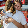 Kelsey Lakowske, right, Boulder, hugs her friend Ali Lewis after winning the girls 5A cross country race during  the state cross country meet at F0ssil Ridge High School in Ft. Collins on Saturday.<br /> <br /> November 7, 2009<br /> Staff photo/David R. Jennings