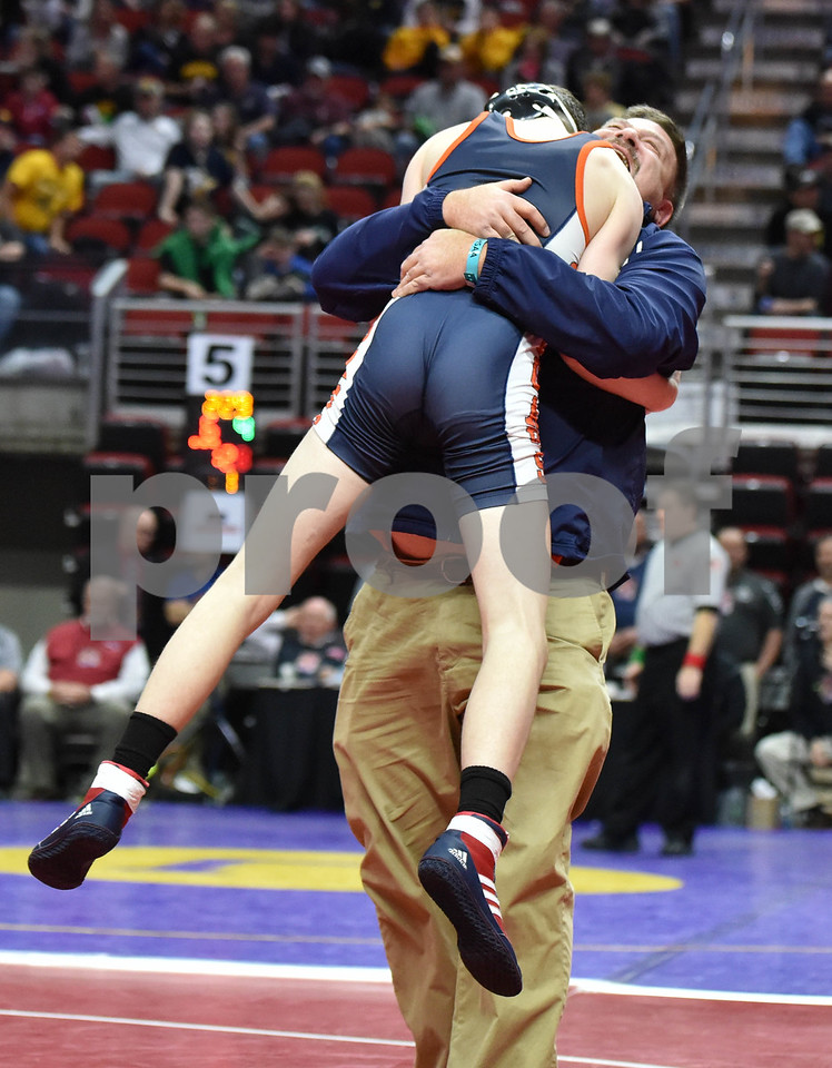 -Messenger photo by Britt Kudla<br /> Daltin Roest of Manson NW Webster celebrates a win over Mount Trae Ehlen during Class 1A consolation on Friday inside Wells Fargo Arena