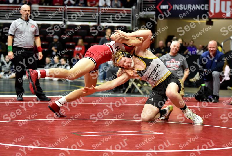 -Messenger photo by Britt Kudla<br /> Mason Griffin of Emmetsburg wrestles against Riverside Dan Burton during Class 1A State Wrestling on Thursday at Wells Fargo Arena