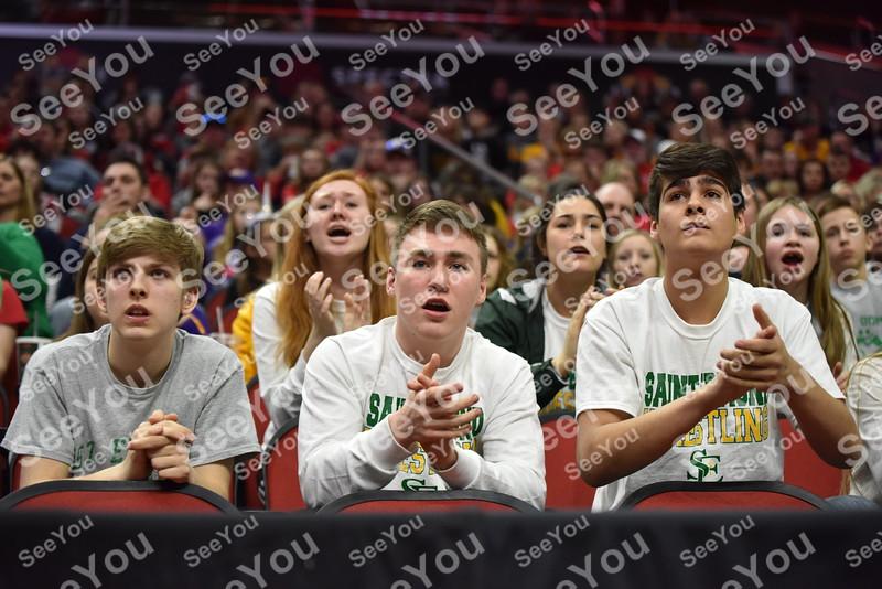-Messenger photo by Britt Kudla<br /> St. Edmond fans cheer on Ryan Duckett during Class 1A State Wrestling on Thursday at Wells Fargo Arena