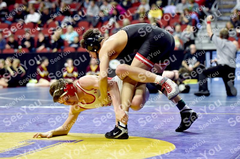 -Messenger photo by Britt Kudla<br /> Dreyzon Phillips of Fort Dodge wrestles against North Scott Trenten Doty during Class 3A Consolation on Thursday at Wells Fargo Arena