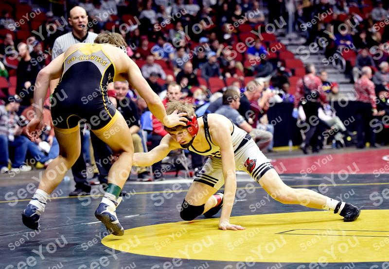 -Messenger photo by Britt Kudla<br /> Kody Cook of Fort Dodge wrestles against Waverly-Shell Rock Cayden Langreck during Class 3A State Wrestling on Wednesday
