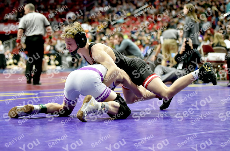 -Messenger photo by Britt Kudla<br /> Lane Cowell of Fort Dodge wrestles against Johnston Rheiner Stahlbaum during State Wrestling on Thursday at Wells Fargo Arena