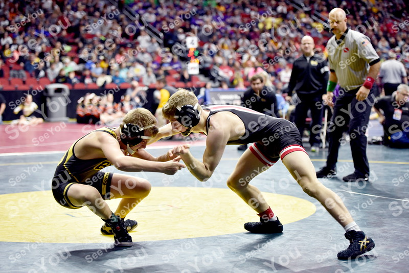 -Messenger photo by Britt Kudla<br /> Lane Cowell of Fort Dodge wrestles against Bettendorf Dustin Bohren during Class 3A Consolations Semi-finals on Saturday at Wells Fargo Arena in Des Moines