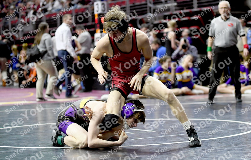 -Messenger photo by Britt Kudla<br /> Tyler Stein of Clarion-Goldfield wrestles against Logan-Magnolia Sean Thompson during Class 1A state tournament on Thursday in Des Moines