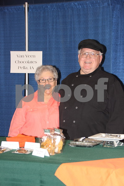 On Thursday, April 14, 2016, Taste Of Home Cooking School came to the Iowa Central Community College campus in Fort Dodge. There was something for everyone to enjoy. The evening also included a VIP dinner prepared by the Iowa Central Community College Culinary Arts students. Seen here (left to right ) is: Jill  Van Veen  and Chuck  Van Veen, who were  one of  the vendors present  at the event.