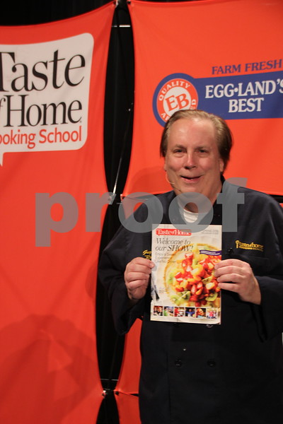 On Thursday, April 14, 2016, Taste Of Home Cooking School came to the Iowa Central Community College campus in Fort Dodge. There was something for everyone to enjoy. The evening also included a VIP dinner prepared by the Iowa Central Community College Culinary Arts students. Shown is: Culinary Guest Guy Klingzing holding the cooking school magazine.