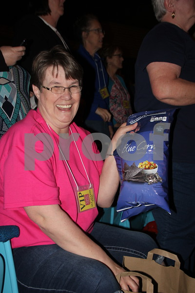 On Thursday, April 14, 2016, Taste Of Home Cooking School came to the Iowa Central Community College campus in Fort Dodge. There was something for everyone to enjoy. The evening also included a VIP dinner prepared by the Iowa Central Community College Culinary Arts students. Shown is: Linda Hamilton who won one of many door prizes given out at the event.