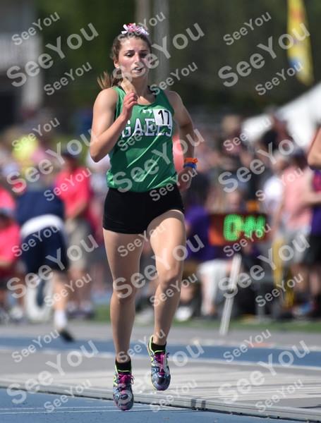 -Messenger photo by Britt Kudla<br /> Abby Landwehr of St. Edmond compete during Class 1A girls 3000 run on Thursday in Des Moines
