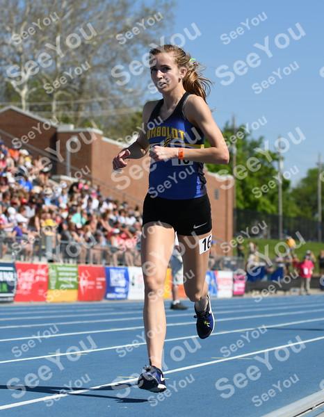 -Messenger photo by Britt Kudla<br /> Bryce Gidel of Humboldt compete during Class 3A girls 3000 run on Thursday inside Drake Stadium