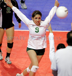 Pojoaque plays Portales for the AAA championship during the New Mexico State Volleyball tournament at the Santa Ana Star Center in Rio Ranch, N.M. on Nov 13, 2009. The Elkettes won in four games.  Natalie GuillŽn/The New Mexican