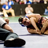 Longmont's Aaron Shaffer (left) wrestles Alamosa's Pablo Ortiz during the first round of the 4A State Wrestling Tournament at the Pepsi Center in Denver, Thursday, Feb. 18, 2010. <br /> KASIA BROUSSALIAN
