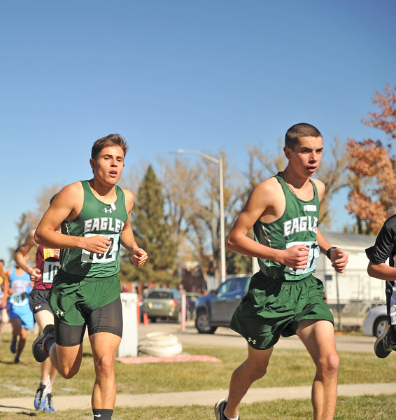 Ryan Patterson | The Sheridan Press<br /> Tongue River's Cooper Vollmer, left, and Jason Barron race during the state cross-country meet at the Veteran Affairs Medical Center in Sheridan on Saturday, Oct. 20, 2018. The Eagles took fourth as a team in the 2A race.