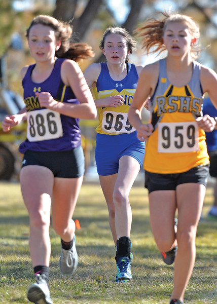 Bud Denega | The Sheridan Press<br /> Sheridan's Sylvia Brown keeps pace during the state cross-country meet at the Sheridan Veterans Affairs Medical Center Saturday, Oct. 20, 2018.