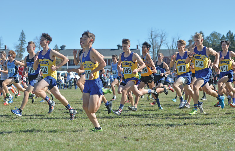 Bud Denega | The Sheridan Press<br /> The Sheridan High School boys team competes in the state cross-country meet at the Sheridan Veterans Affairs Medical Center Saturday, Oct. 20, 2018.