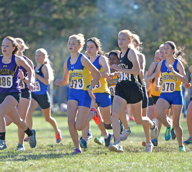 Bud Denega | The Sheridan Press<br /> Sheridan's Katie Turpin leads the pack during the state cross-country meet at the Sheridan Veterans Affairs Medical Center Saturday, Oct. 20, 2018.