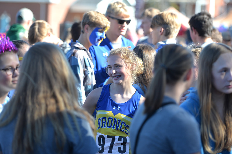 Bud Denega | The Sheridan Press<br /> Sheridan's Katie Turpin smiles during the state cross-country meet at the Sheridan Veterans Affairs Medical Center Saturday, Oct. 20, 2018.
