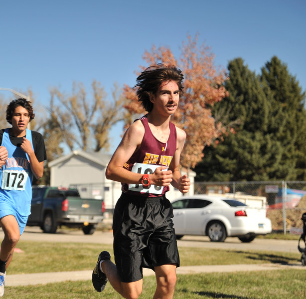 Ryan Patterson | The Sheridan Press<br /> Big Horn's Cameron Tift races during the state cross-country meet at the Veteran Affairs Medical Center in Sheridan on Saturday, Oct. 20, 2018. The Rams took third in the 2A race.