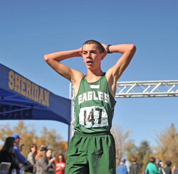 Ryan Patterson | The Sheridan Press<br /> Tongue River's Jason Barron reacts after finishing his race during the state cross-country meet at the Veteran Affairs Medical Center in Sheridan on Saturday, Oct. 20, 2018. Barron placed 13th in the 2A race and the Eagles took fourth.