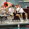 Pat Christman<br /> Mankato West's Danielle Nack leaps off the starting block during the 50-yard freestyle finals at the State Class A swimming and diving meet Wednesday at the University of Minnesota Aquatic Center. Nack defended her title in the event.