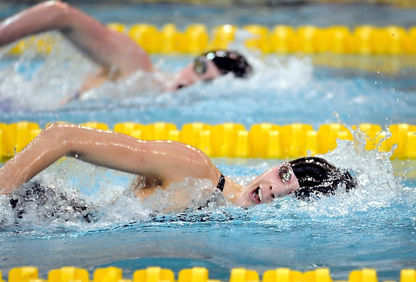 Pat Christman<br /> Mankato West's Chantal Nack (bottom) stays just ahead of Chisago Lakes Area's Thomasin Lee during the State Class A 500-yard freestyle finals Wednesday at the University of Minnesota Aquatic Center. Nack beat Lee, last year's state champion, by .06 seconds.