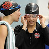 Pat Christman<br /> Mankato West's Danielle Nack talks to her sister Chantal before she competes in the 200-yard freestyle finals during the State Class A swimming and diving meet Wednesday at the University of Minnesota Aquatic Center.